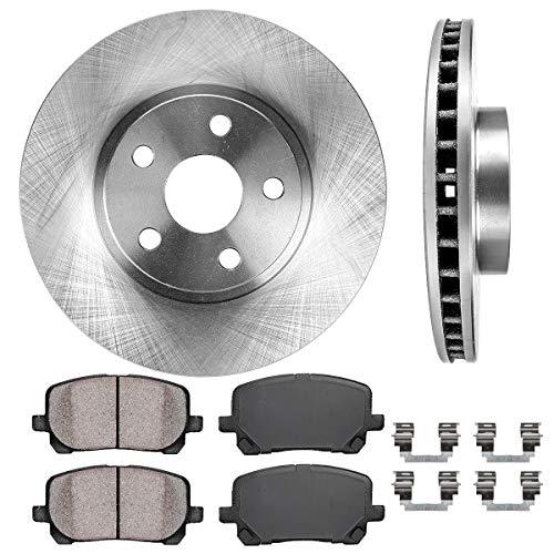 CRK11228 FRONT 275 mm Premium OE 5 Lug [2] Brake Disc Rotors + Ceramic Pads + Clips [ fit Toyota Vibe Corolla Matrix ]