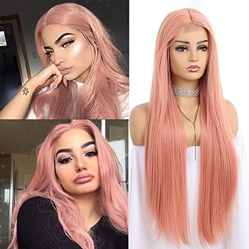 Perücke Rosa Lange Pink Perücke Für Frauen, Natürlichesr Synthetische Haar Perücken Damen, 1 * 4 cm Lace Front Wigs Für Cosplay Costume Party Daily