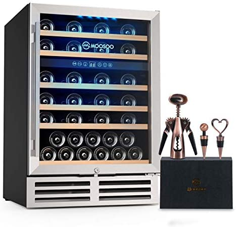 MOOSOO 24 Inch Dual Zone Wine Cooler Refrigerator 51 Bottles Built in or Freestanding Wine Refrigerator product image