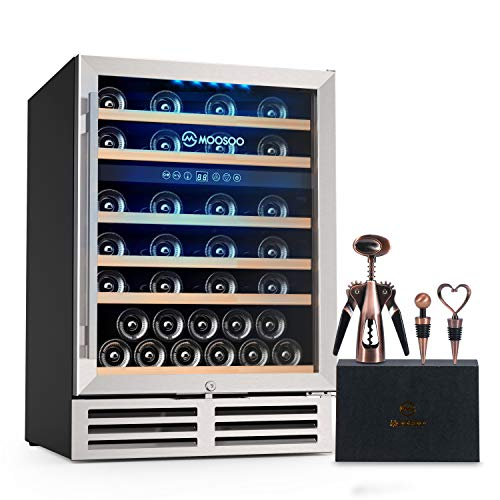 MOOSOO 24 Inch Dual Zone Wine Cooler Refrigerator 51 Bottles Built-in or Freestanding, Wine Refrigerator with Stainless Steel&Double-Layer Tempered Glass Door, Energy Saving, Quiet Operation