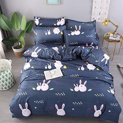 CYGJ CYGJHypoallergenic cotton comfortable three-piece or four-piece beddingRabbit-blue1.8m four-piece set