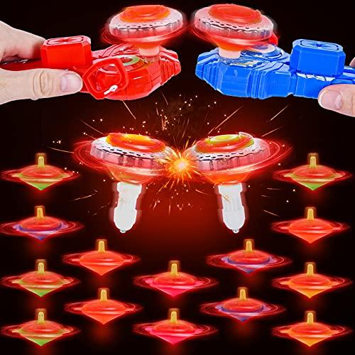 colmanda Peonza Luminosos, 16 Pcs Juguete de Luminosos Peonza, Creativo Juguete Gyro Set Peonzas de Colores, Peonza para Niños, Peonza LED con Efecto Regalo para Niños Comuniones