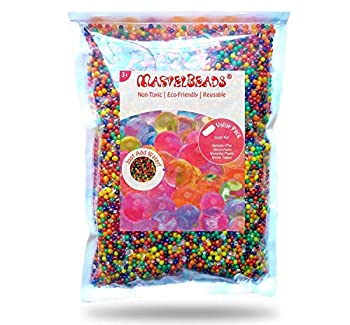 MarvelBeads Water Beads Non-Toxic  Half Pound Refill  Rainbow Mix for Sensory Play Spa Refill Toys and Décor Marble Sized