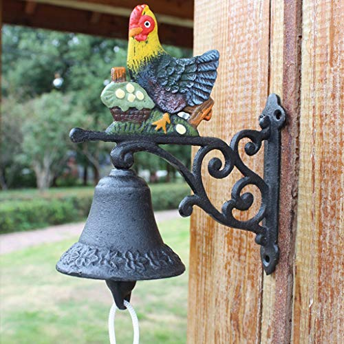 TLMY smeedijzeren deurbel tuindecoratie deurbel mooie muur opknoping decoratie creatieve gietijzeren deurbel retro hand bel 17x8x17cm Retro deurbel