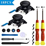 2-Pack Joycon Joystick Replacement Analog Stick for Nintendo Switch Controller Joycon Drift Fix Include Metal Buckles, Pry Tools, Tri-Wing & Cross Screwdriver, Thumbstick Caps and Screws