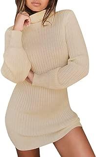 Women's Sweater Dress,Long Sleeve Turtleneck Neck Solid Loose Mini Pullovers Jumper Knitwear Sweaters for Women