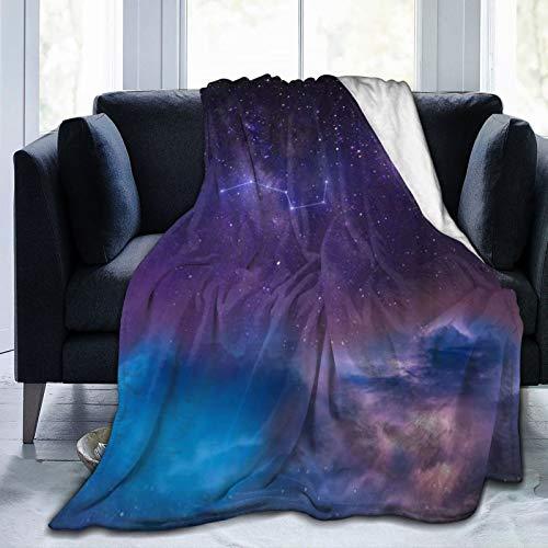 ALLMILL Soft Fleece Überwurfdecke,Sterne Celestial Galaxy Cosmos Under Moon Orbit Nachthimmel,Home Hotel Bed Couch Sofa Überwurfdecken für Paare Kinder Erwachsene,100x120cm