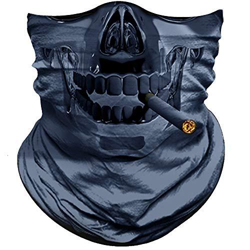 Obacle Skull Face Mask Half for Dust Wind UV Sun Protection Seamless 3D Tube Mask Bandana for Men Women Thin Breathable Skeleton Mask Motorcycle Riding Biker Fishing Sports Festival (Skull Smoke Gray)