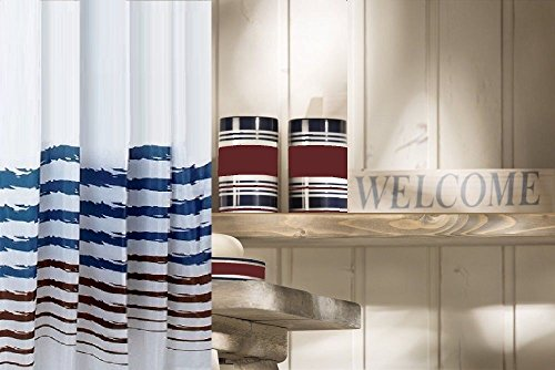 White Shower Curtain with Cranberry and Blue Stripes