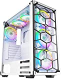 MUSETEX - ATX Mid-Tower PC Gaming Case - 6pcs 120mm Fans Digital ARGB Lighting - 2 Tempered Glass Panels USB3.0 - White Frame - Computer Chassis Desktop Case907W6W
