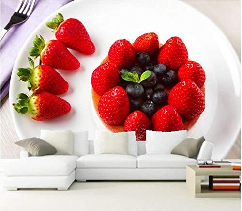 Wuyii wanddecoratie personaliseerbaar in 3D, bord voor suikercake, aardbeien en blauwe bessen, levensmiddelen, achtergrondverlichting, restaurant, keuken, woonkamer, tv-muur 400 x 280 cm