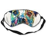 DJNGN Máscara de ojos colorida perro Pit Bull Art máscara para dormir ajustable capaz máscara de dormir dormir dormir ojos máscara para ojos venda