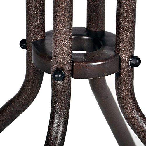 Nexos Bistroset Balkonset Rattanset – Sitzgarnitur aus Glastisch & Bistrostuhl – Stahlgestell Poly-Rattan Glasplatte – robust stapelbar – dunkel-braun - 6