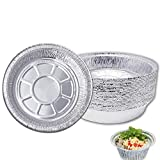 Round Aluminum Foil Pans 7 Inch Disposable Aluminum Tin with Lids, Freezer & Oven Safe, Recyclable & Durable Food Container Pie Dish for Storing, Baking, Meal Prep & Reheating, 20 Pack