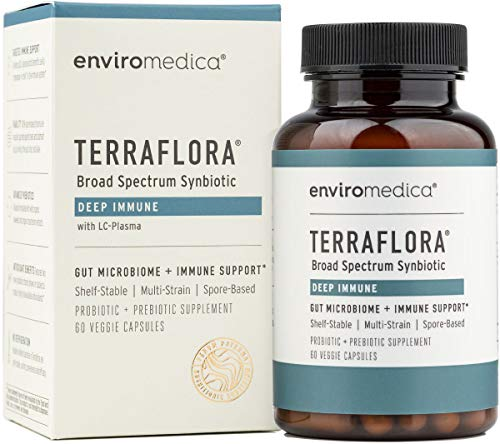 Enviromedica Terraflora Deep Immune SBO Probiotic + Prebiotic Supplement - a Soil Based Shelf Stable Bacillus Spore Form Synbiotic with LC-Plasma – a Powerful Immune Booster (60ct)
