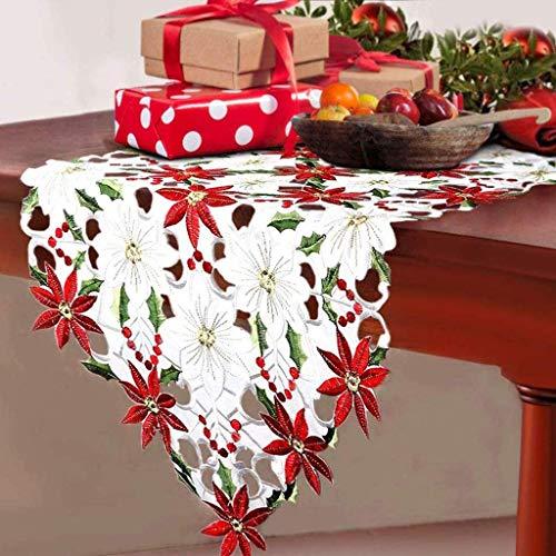 gcxzq Corredores de Mesa Bordados de Navidad, Poinsettia de Vacaciones Holly Tabla de Encaje Floral Ropa de Cama para Fiesta de Navidad Decoración de Mesa de Comedor Camino de Mesa