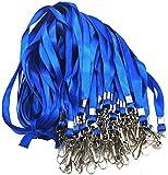 Blue Lanyard Bulk Lanyards for Id Badges Flat Lanyard with Badge Clip Swivel Hook Beebel 5...