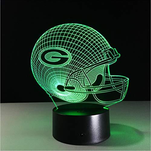 Mmzki 3D Lampe Fußball Green Bay Packers Helm Led-Licht 7 Farbwechsel Tischlampe Bunte 3D Nachtlicht Kinder Weihnachtsgeschenke