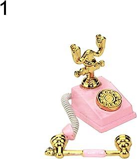 yongqxxkj - Teléfono Giratorio en Miniatura, Accesorio de decoración para casa de muñecas, Juguete para niños, Color Blanco, Aleación, Rosa, Rosa