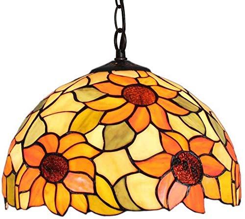 LEIKAS Pantalla de vidriera rústica Pastoral de 12 Pulgadas, lámpara Colgante Estilo Tiffany, Accesorio de iluminación Vintage E27 para Escalera de Isla de Cocina