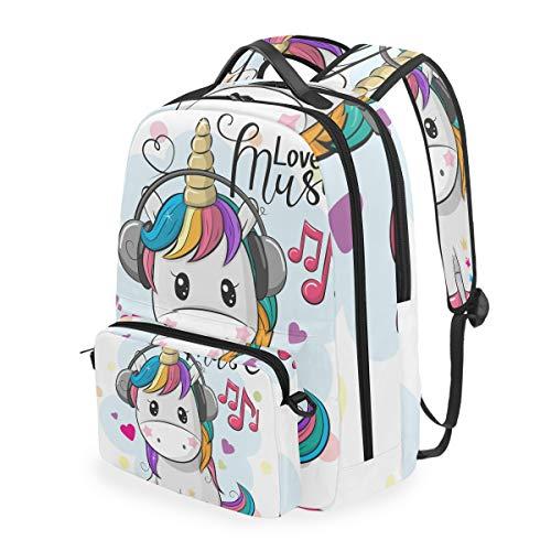 Zaini per la scuola Unicorn Love Music Bookbag staccabile per studenti per ragazzi Borsa da viaggio per bambini