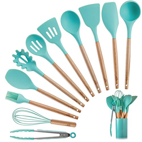 Silicone Kitchen Cooking Utensils Set with Wooden Bamboo Handles (11 Piece)   BONUS Cup   Durable Cookware Tools   BPA-Free, Non-Stick Safe, Non-Toxic   Include Tongs, Spatula, Turner, Ladle and More