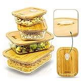 BAMZOO Glas Frischhaltedose, Auflaufform mit Deckel, Brotdose 3-in-1 Set mit Frische-Ventil, 4er Set Glasbehälter, Mikrowellengeschirr, Vorratsdosen, Glasschüssel, Glasdose mit Deckel
