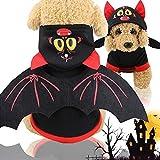 Idepet Disfraces de Mascotas de murciélagos de Halloween con alas, Ropa de Sudadera con Capucha de Cachorro de Perro Ropa para Perros pequeños o Gatos