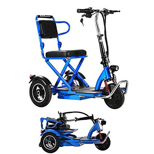 PinkDreamland Eléctrica Plegable Triciclo Adulto Mayor Movilidad al Aire Libre Viajes de Placer portátil de pequeño tamaño Mini Scooter eléctrico 48V20A Duración de la batería 55 Kilómetros,Azul