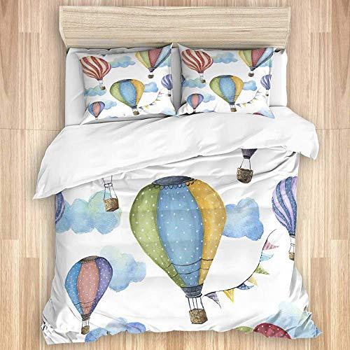 jonycm beddengoed 3-delig Cartoon Hot Air Balloon Vlag Hostel slaapkamer ziekenhuis decoratieve 3-delige beddengoed set beddengoed set 3-delige huis gezellig