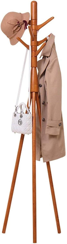 Nevy Coat Racks Free Standing Solid Wood,7 Hanging Rods-360° redating Hook,Hat Handbag Hanger Hall Tree, 43X43X180CM (color   Wood color)