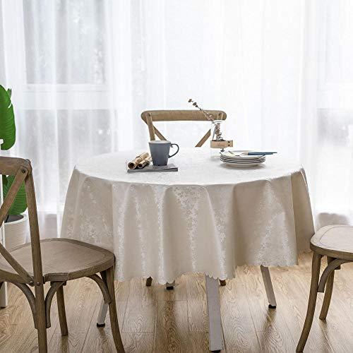 Tischdecke Runde PVC Fleckabweisende Und Wasserdichter Esstisch Outdoor Tischdecken Rose Creme Weiß-160cm