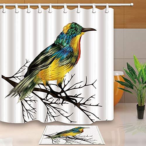 vrupi Duschvorhänge mit Vogel-Motiv, handgezeichnet, bunt, Tropische Vögel auf Ästen, Kunstdruck, 180,3 x 180,3 cm, Polyester-Stoff, mit 39,9 x 59,9 cm, Flanell-Fußmatte