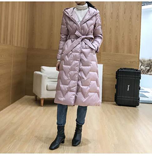 KGLOPYE Daunenmantel Ultraleichter 90% weißer Frauen Langer Parka Mantel Winter dünner Mantel mit Kapuze Winddichte Jacke, Pink, S