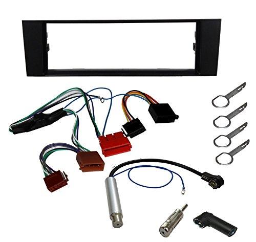 AERZETIX - Kit de montaje de Radio de Coche estándar - 1DIN - Marco, Cable enchufe, Adaptador de antena, Llaves extraccion para autoradio, Amplificador de Antena - C2768A