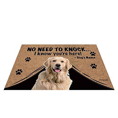 Felpudo personalizado con nombre de perro con My Love Dog Golden Retriever Welcome Floor Mat No Need to Knock I Know You