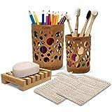 Cottify Juego de 5 piezas de bambú para cepillos de dientes, bolsas de sisal, jabón, soporte para jabón de bambú, juego de accesorios de baño, soporte para cepillo de dientes y pasta de dientes