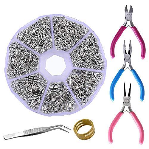 6 Colors Earring Post PP OPOUNT 2463 Pieces Earring Making Supplies Kit with Earring Hooks Pliers Tweezers Jump Rings Jump Ring Opener for Earrings Making and Repairing