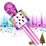 Karaoke Microphone, ENRIZO Handheld Wireless Bluetooth Portable Karaoke Machine Toy 5 in 1 Speaker Player Recorder USB Rechargeable with LED Lights for Girls Boys Kids Birthday Party Christmas Pink
