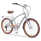 sixthreezero EVRYjourney Men's 26' 7-Speed New Sport Hybrid Cruiser Bicycle, Ash Amber