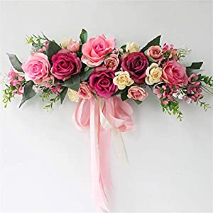 Liveinu Handmade Floral Artificial Simulation Peony Flowers Garland Wreath Wedding Table Centerpieces for Home Party Decor 21″ W x 7″ H Pink Red Swag Wreath