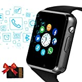 Janker Smart Watch, Bluetooth Smartwatch Android iOS Phone Compatible Unlocked Watch Phone with SIM Card Slot Camera Pedometer Touch Screen Music Player Wrist Watch for Men Women Kids (Black)