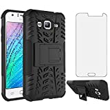 Phone Case for Samsung Galaxy J3 2016/J 3 V/J36V/Sky/Amp Prime with Tempered Glass Screen Protector Cover and Stand Hard Rugged Hybrid Cell Accessories Glaxay Sol J3V J36 6 J320V J320A Cases Men Black