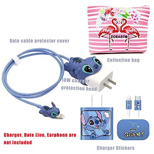 Zoeast Kabelschutz mit Cartoon-Motiv, 18 W, 20 W, USB-Ladegerät, Ladedaten, Kopfhörer, kompatibel mit allen iPhone 11 / 12 Pro Max Mini etc. USB-Kabel (Stitch)