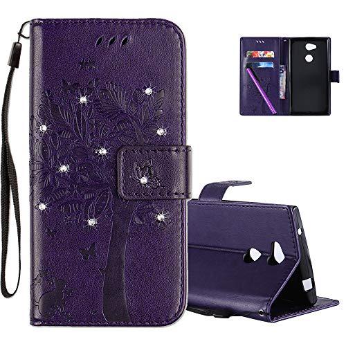 COTDINFOR Sony Xperia L2 Hülle für Mädchen Elegant Retro Premium PU Lederhülle Handy Tasche mit Magnet Standfunktion Schutz Etui für Sony Xperia L2 Purple Wishing Tree with Diamond KT.