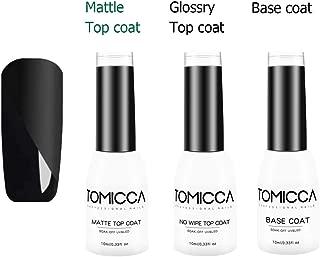 Matte Top Coat, High Gloss Top Coat and Base Coat Nail Polish Kit 10ml Each No Wipe Top Coat