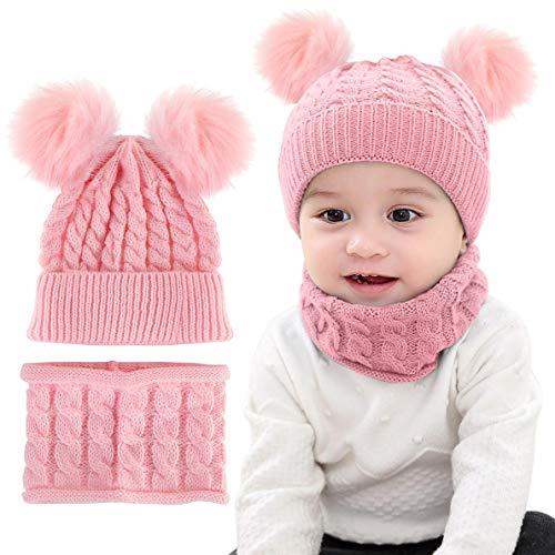 LYworld Conjunto de Bufanda y Gorro de Punto Unisex Niños Niñas Invierno cálido Punto Beanie Gorros con Pompon Bufanda de Punto Cuello Redondo Bebé