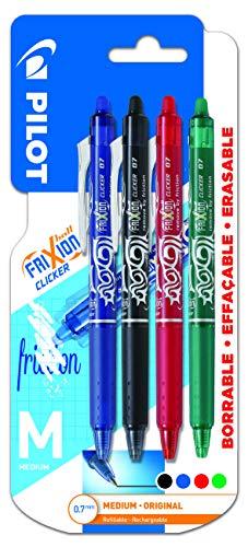 Pilot-Frixion Clicker-Cuatro bolígrafos Borrables Frixion Clicker-Uno de Cada Color Azul,Negro,Rojo y Verde-Trazo 0,7