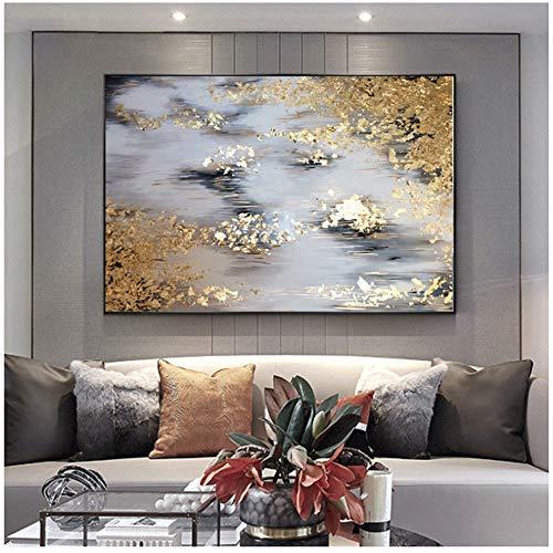 Peinture moderne Impression sur Toile à l'huile abstraite or gris blanc magnifique home Decor peinture à l'huile sur toile-60x90cm No Frame