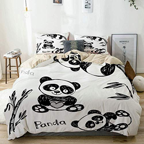 Juego de funda nórdica beige, panda alegre, diferentes poses con rama de bambú, pintura para niños, impresión artística, juego de cama decorativo de 3 piezas con 2 fundas de almohada, fácil cuidado, a
